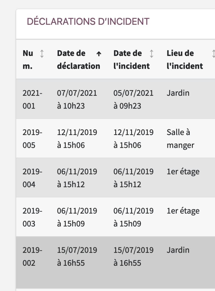 Exemple de numérotation des incidents